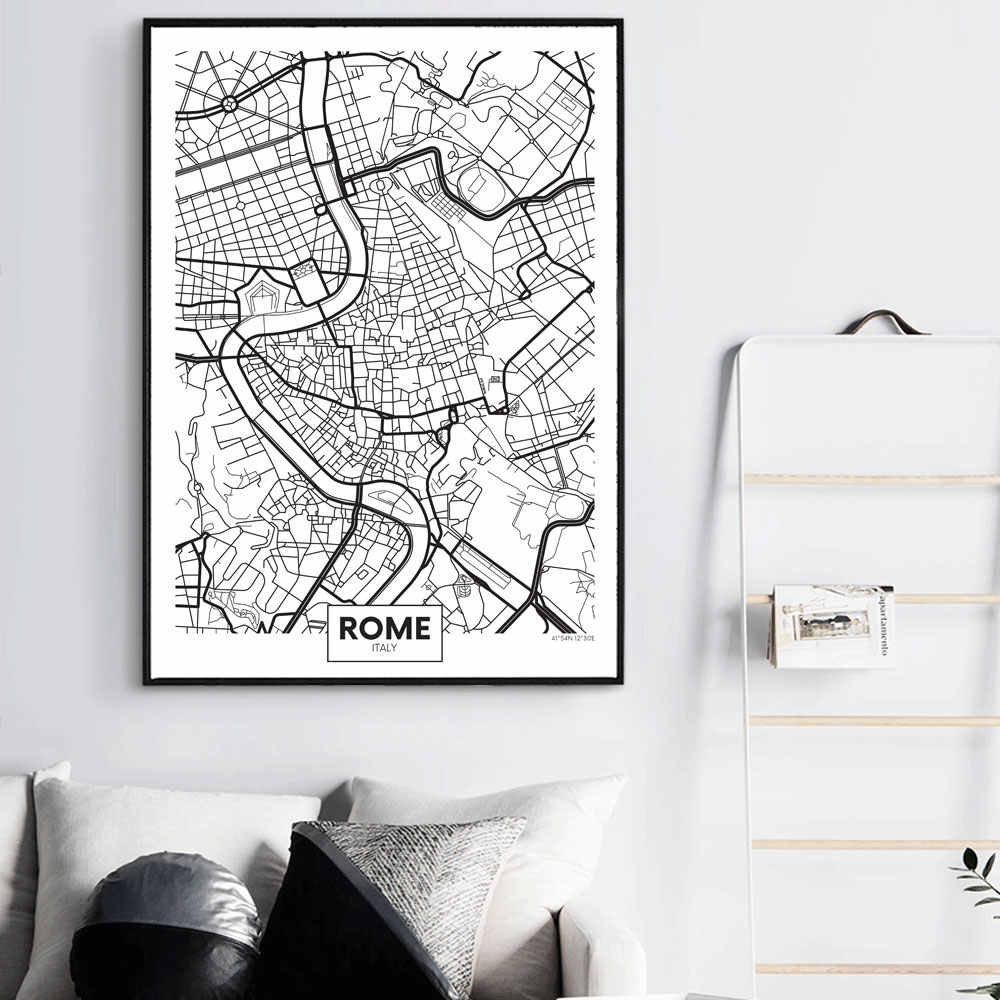 WANGART Black  White Word Poster City Map Paris London New York Nordic Print Canvas Painting Wall Picture for Living Home Decor