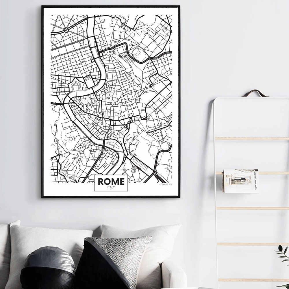 WANGART черно-белый плакат с надписью, Карта города, Париж, Лондон, Нью-Йорк, скандинавский принт, Картина на холсте, Настенная картина для домашнего декора