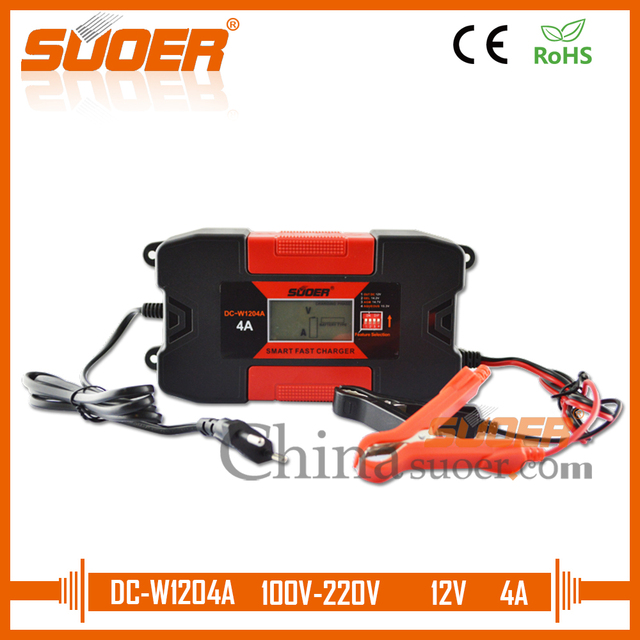 Suoer 12 Volt 4A Fast Charger Smart Intelligent Solar Battery Charger (DC-W1204A)