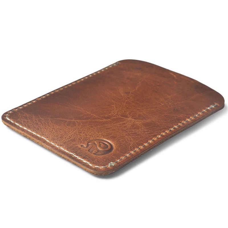 Slim COW หนังกระเป๋าสตางค์บัตรเครดิต ID หนังแท้ Porte carte ผู้ถือบัตรธุรกิจผู้ถือบัตร