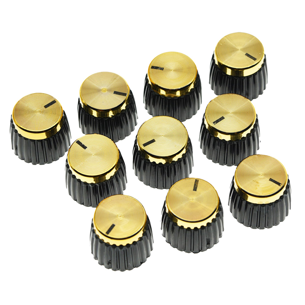 KAISH Pack of 10/20/50 pcs Guitar Amplifier Knobs Gold Cap Push On Knob fits Marshall AMP e cap aluminum 16v 22 2200uf electrolytic capacitors pack for diy project white 9 x 10 pcs