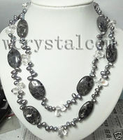 Black Pearls Labradorite Stone Clear Crystal Necklace