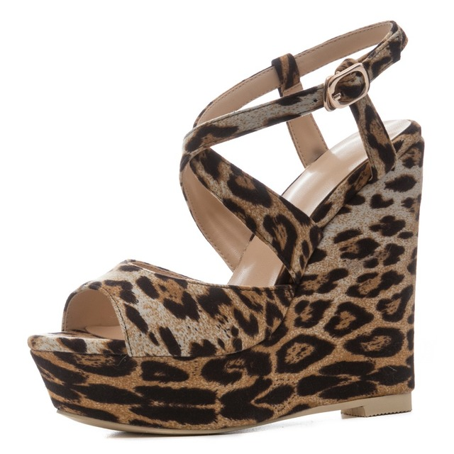 d20478935b39 Leopard print sandals women gladiator shoes 2018 newest sexy animal prints  platform wedges sandals 12.5 cm high heels shoes
