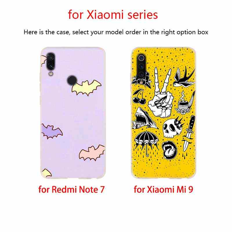 Bao Da Silicone mềm TPU Cho Tiểu Mi Mi A3 9 8 A1 A2 Lite 6X F1 mi x 2 S Max3 Đỏ MI 7A Đi Note 7 5 Nữ Tính Pastel Phù Thủy Goth