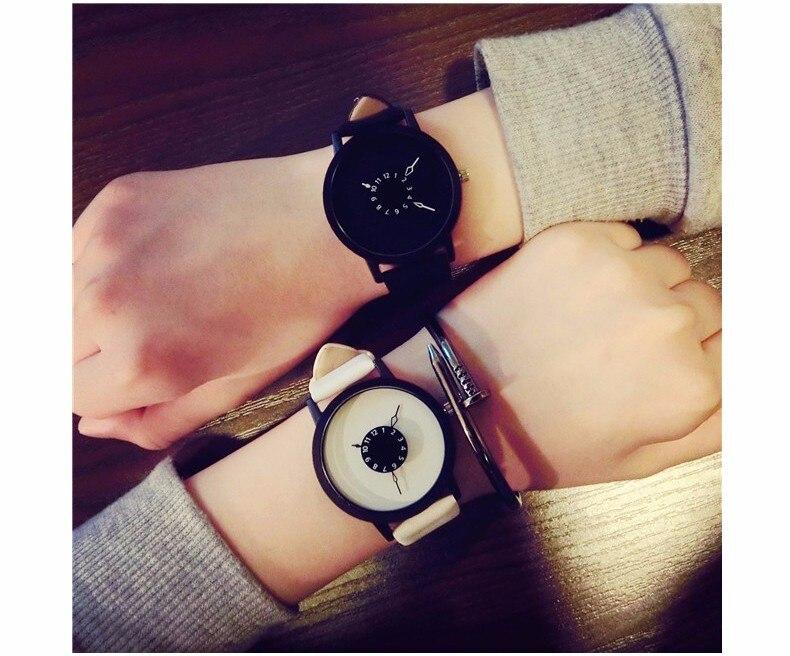 Hot fashion creative watches women men quartz-watch BGG brand unique dial design minimalist lovers' watch leather wristwatches 25