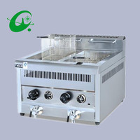 Stainless Steel Single cylinder dual screen Counter Top 28L Counter top Deep Fryer Gas cylinder blast furnace