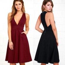 S-XL women deep v neck sleeveless vest dress sexy pocket night evening party dress spring summer casual leiusre brand dress все цены