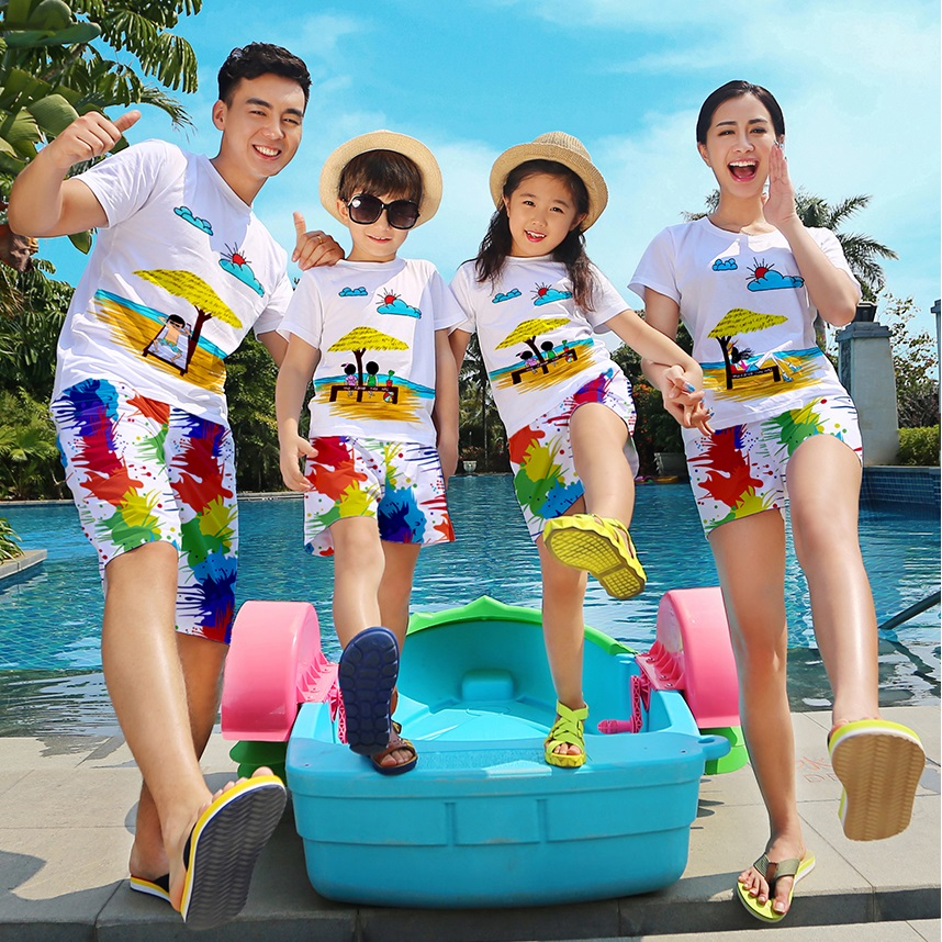 Beach Family Matching Outfits Mother Daughter Father Son Mommy And Me Clothes Cotton T-shirt+Quick Dry Shorts Clothing Sets MH