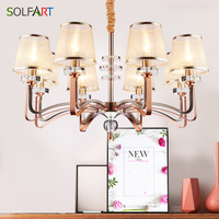 SOLFART Rose Gold Finishing Chandeliers Pendant Lamp Modern Lamp E14 CE Fabric Shade Heracleum Lights