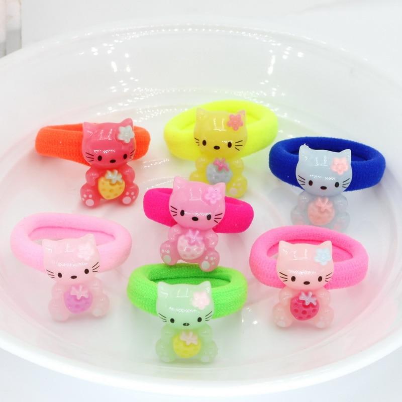 28pcs Children Cartoon Candy Color Gum Hair band,Girls Headwear kids Hair accessories kids Christmas Gift birthday Ornaments