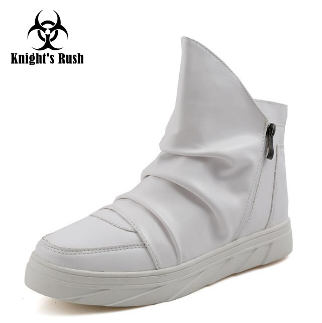 Fashion Pleated Leather Mens Casual Shoes Spring Autumn New High Top Men Shoes Ankle Mens Sneakers Zipper Casual Footwear men suede genuine leather boots men vintage ankle boot shoes lace up casual spring autumn mens shoes 2017 new fashion