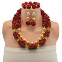Dark Red Jewelry Sets For Women Fine African Beads Jewelry Set Vintage Statement Necklace Earrings Set For Women
