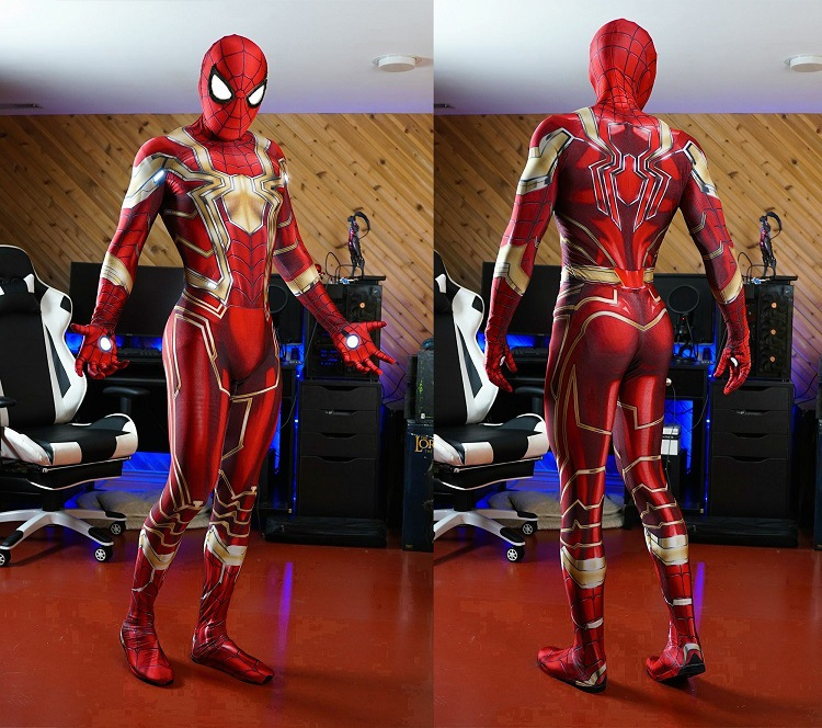 Newest Iron Spider Red Gold Spiderman Costume MCU Spider-man 3D Shade Full Body Spandex Lycra Zentai Suit Superhero Costume
