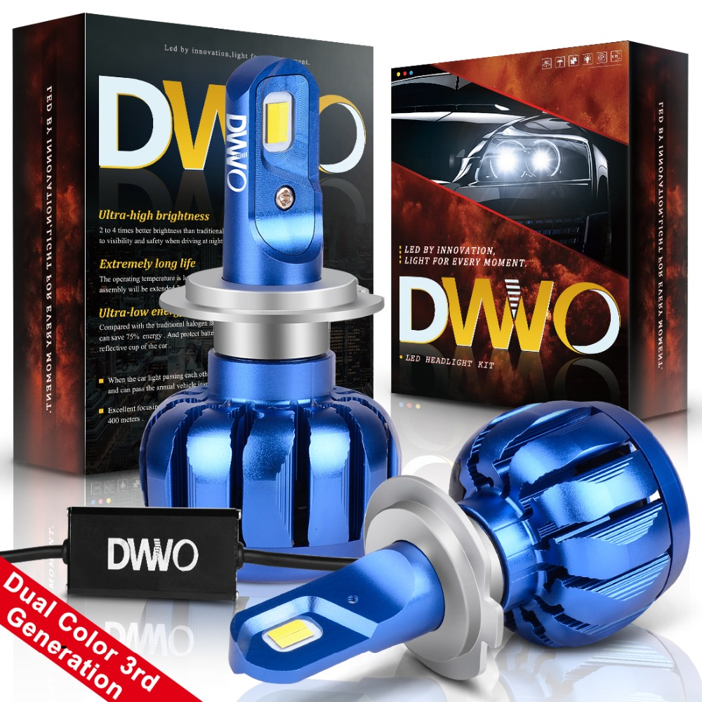 Gentle H7 Led Car Headlight Bulb Hi-lo Beam Auto Headlamp Led Headlights For Bmw/audi/vw/ford/toyota/honda 6000k And 3000k Dual Color To Have A Long Historical Standing Car Lights