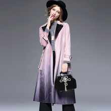 High Quality Hot 2016 Autumn Winter Brand Fashion Long Trench Coat Women Loose Thick Female Robe Outwear Suede Gradient Belt Z17
