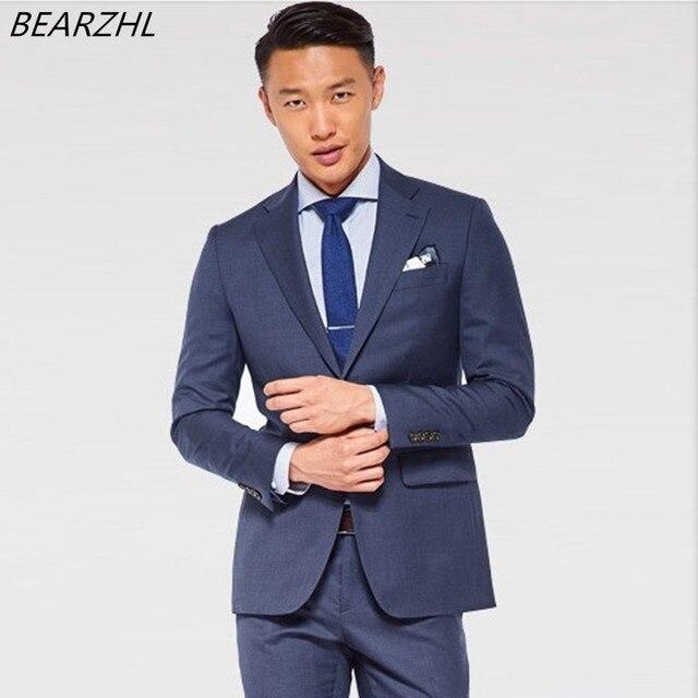 tuxedo for mens bridegroom suit slim fit groom wear navy blue ...