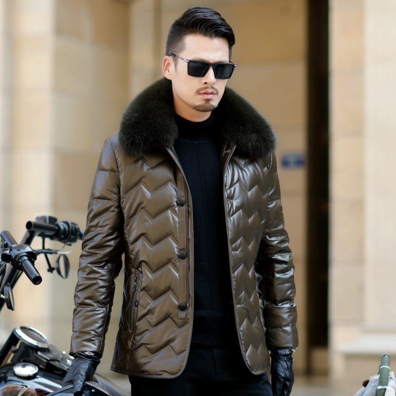 HTB1AE38ejDpK1RjSZFrq6y78VXaR Jaqueta Couro Sale Men Engine Leather Parka Winter Down Jacket 2018 New Middle-aged Sheep Coats Large Size Outerwear Male No520