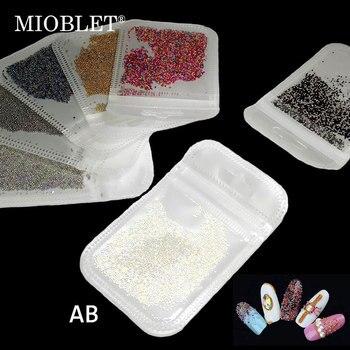 Микро-дизайн ногтей гардиент бусины AB красочные блестящие икры жемчужные бусины Стразы для украшения ногтей УФ-гель маникюрные аксессуары