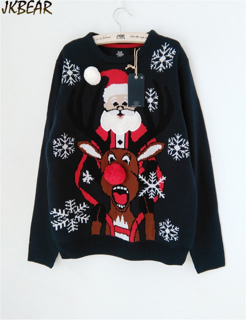funny ugly christmas sweaters with santa claus rudolph the red nose reindeer snowflake pattern s - Red Ugly Christmas Sweater