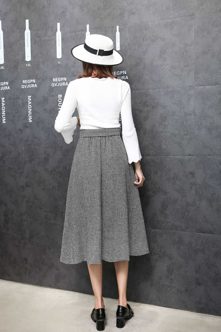 b8edf75bee ... Plaid Skirts Women 2018 Autumn Winter Maxi Elegant Elastic High Waist  Warm Wool Long Skirts for