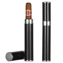 GALINER Portable Single Cigar Tube Carbon Fiber Cigar Case Travel Mini Humidor Box Black Cigar Accessories недорого