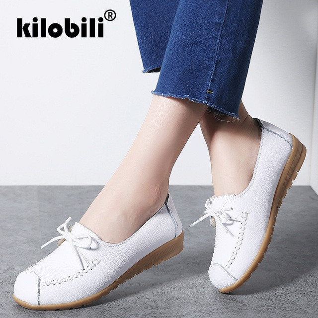 kilobili 2018 Autumn Women Flats Shoes Women Genuine Leather Shoes Ladies Fur Slip On Ballet Flats Loafers Female Ballerina