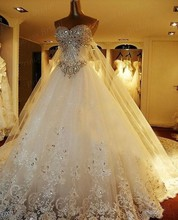 Free Shipping Expensive Noble Luxury Puffy Ball Gown Sweetheart Royal/Cathedral Train Wedding Dresses With Crystal MD107