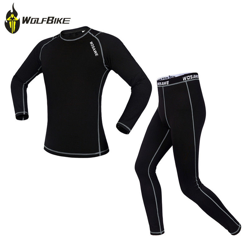WOSAWE Breathable Fleece Cycling Base Layer Suits Quick-drying Compression Long Johns Cycling Running Bottom Jersey Sports Suits wosawe men compression tights cycling base layer running fitness workout gym clothes long johns sports pant jersey suit