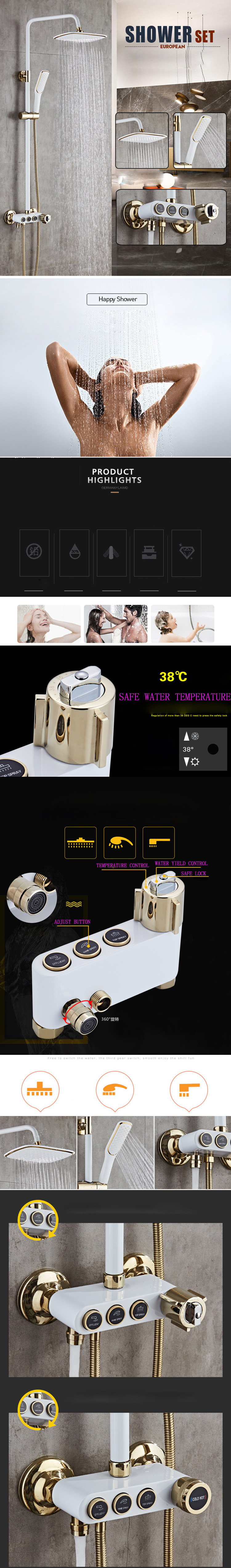 HTB1AE3pRhTpK1RjSZFKq6y2wXXaG Senducs Thermostatic Shower Set White Gold Bathroom Shower System Quality Brass Bathtub Faucet Newly Intelligent Gold Shower Set