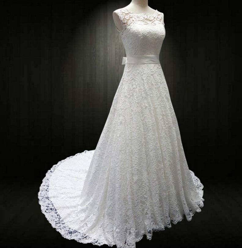 Cheap 2016 New White/Ivory Lace Bridal Gown Wedding Dress Appliques Vintage Plus Size Maxi Custom Size:6/8/10/12/14/16/18/20