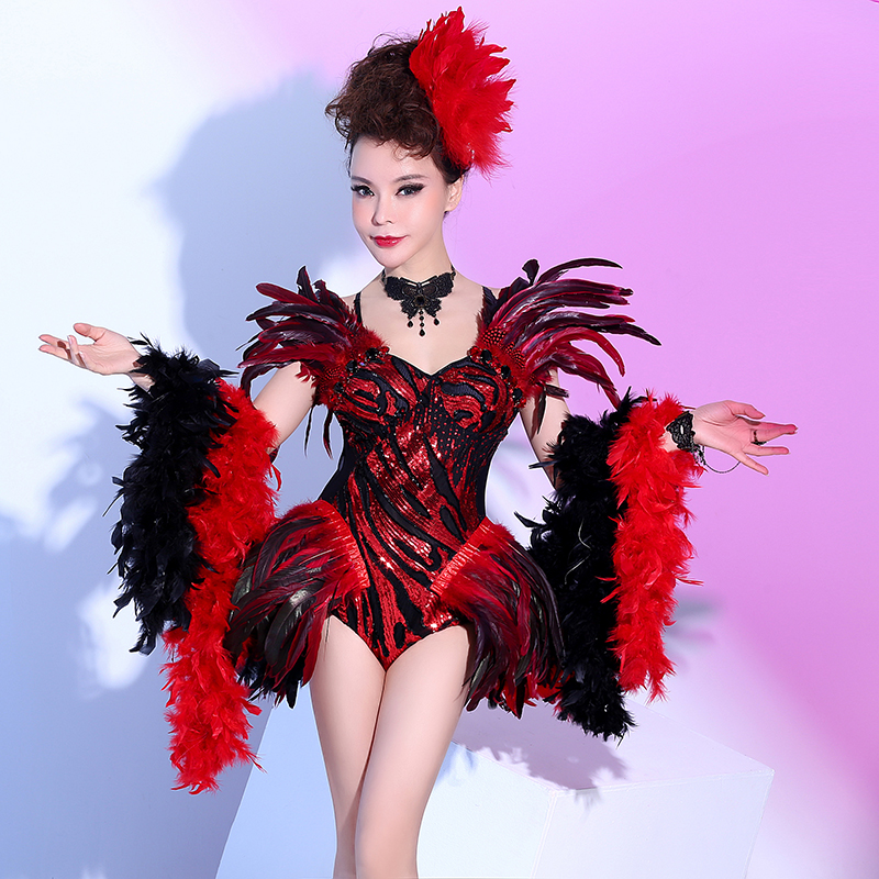 New Nightclubs Female Singers Stage DJ Costume Sexy Red Feathers Bodysuit Dancing Show Jazz Strass Outfit Performance Wear