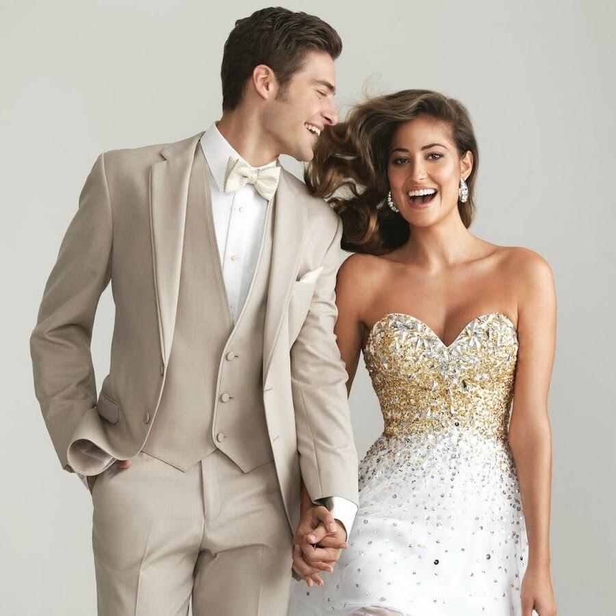 New Arrivals Champagne Wedding Suits For Men Slim Fit Tailor Made Groom Prom Blaze Dress ...