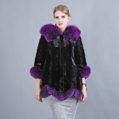 Hiver Air De Dames Et Cuir Fourrure purple Automne Mode Col Vison Chaud Plein Femmes Vraiment Manteau Renard white Costume 2018 En Brown Eq7C4
