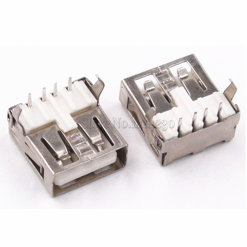10Pcs USB Type A Standard Port Female Solder Jacks Connector PCB Socket USB-A Type 90 Degrees Rimless