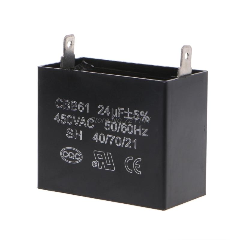 Capacitors 24uF 24MFD 450V AC CBB61 Fits 400/350/300/250VAC UL/RU Listed Brand Mar20