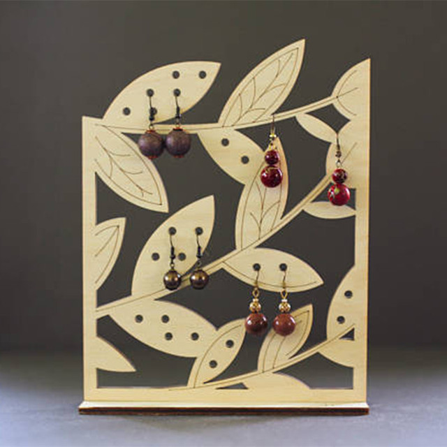 Laser cut Leaf Wood Stud Earring Holder Jewelry Storage Earring