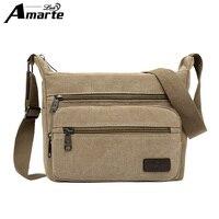 Amarte Men Handbags 2017 Fashion Vintage Men Canvas Shoulder Bags High Quality Messenger Bag For Mele