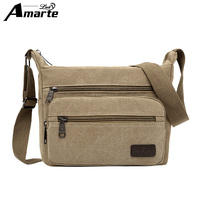 Amarte Men Handbags 2017 Fashion Vintage Men Canvas Shoulder Bags High Quality Messenger Bag For Mele
