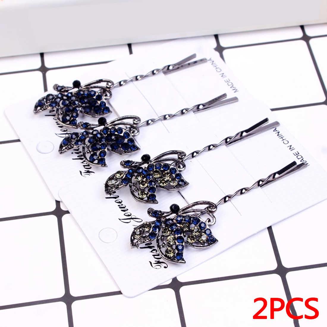1 Pair Women Vintage Crystal Hair Clips Girls Flower Tiara Blue Rhinestone Hair Pin Bridal Wedding Hair Accessories Jewelry