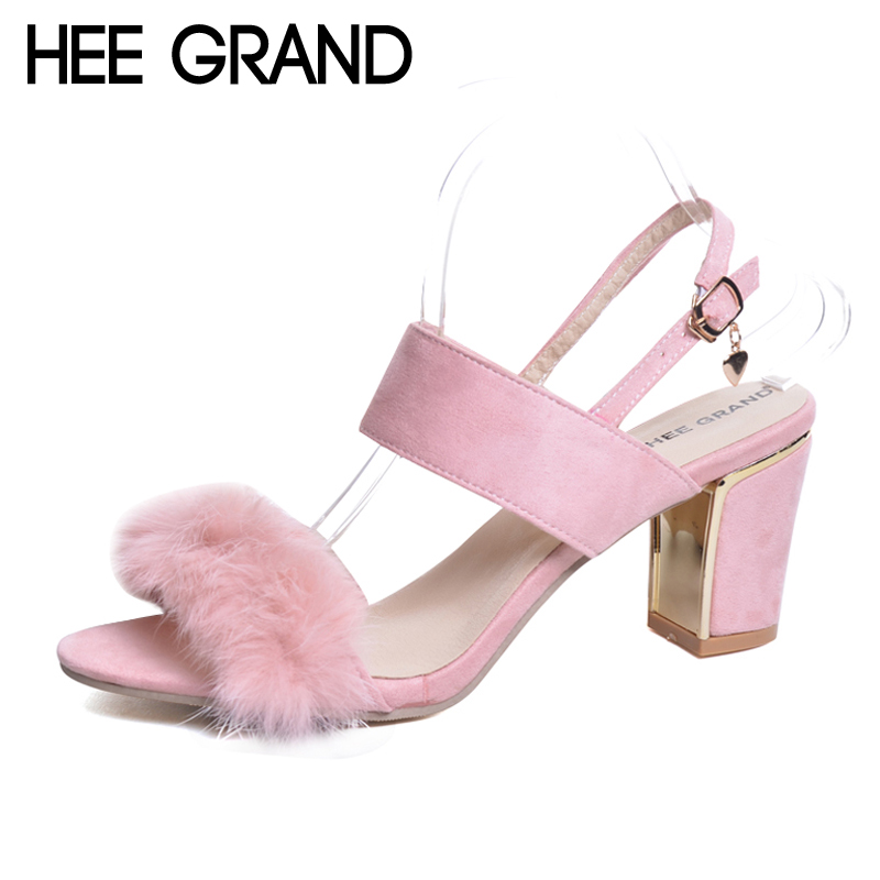 HEE GRAND 2017 Suede Faux Fur Sandals Platform Sweet Summer Creepers Casual Buckle Shoes Woman Sexy Fashion High Heels XWZ4362 phyanic 2017 gladiator sandals gold silver shoes woman summer platform wedges glitters creepers casual women shoes phy3323