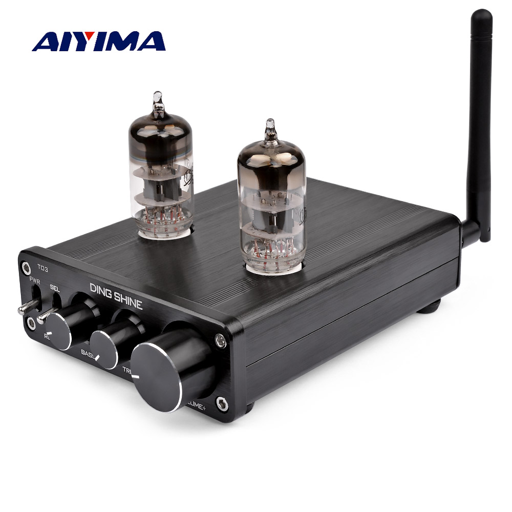 AIYIMA 6N3 Vacuum Tube Preamplifier <font><b>Bluetooth</b></font> <font><b>4.0</b></font> Receiver <font><b>HIFI</b></font> Bile Preamp Treble Bass Adjustment Audio Preamplifier DC12V image
