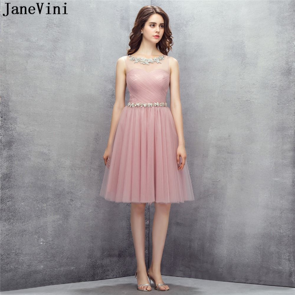JaneVini Elegant A Line Tulle Short   Bridesmaid     Dresses   Scoop Neck Lace Appliques Beaded Illusion Back Women Wedding Party Gowns