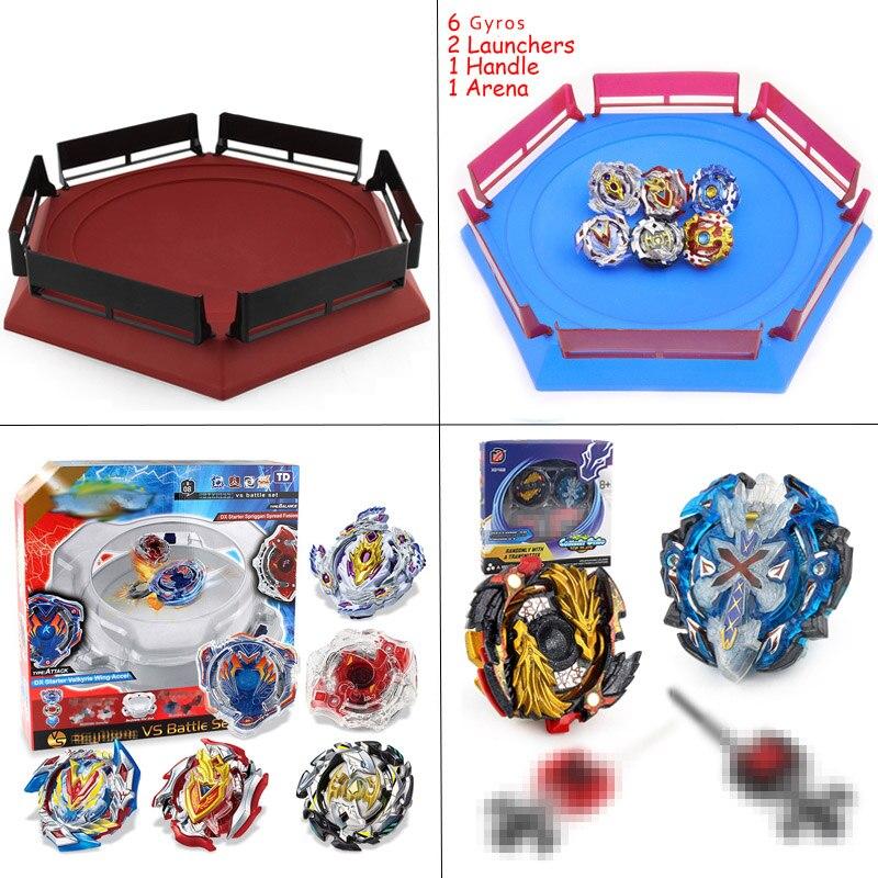 Spin hauts stade d'arène Toupie Toupie Toupie métal 4D Fusion jouets pour enfants avec poignée de lanceur # E