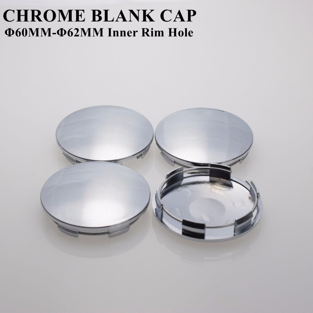 Chrome Blank Center Cap For Wheels 60/62MM Inner Rim Hole No Logo Without Sticker Cover Cap Cambered Surface SET OF 4 KOM POWER