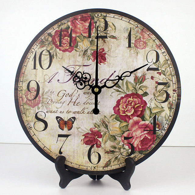 Wholesale Pastoral Flowers Decorative Table Clock More Quite Home  Decoration Desktop Clock To Wall Fashion Weeding