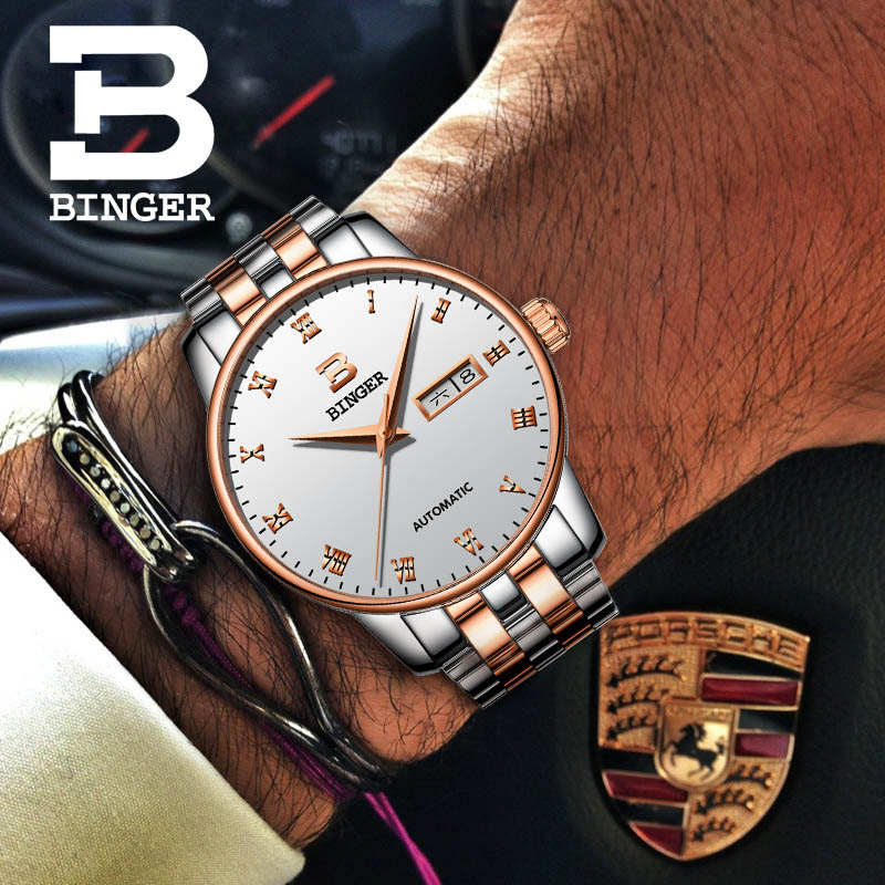BINGER Luxury Men Classic Date automatic Mechanical Watch Self-Winding Skeleton Black Leather/Stainless Steel Strap Wrist Watch nbw0he6767 men s stainless steel skeleton mechanical self winding analog wrist watch grey white