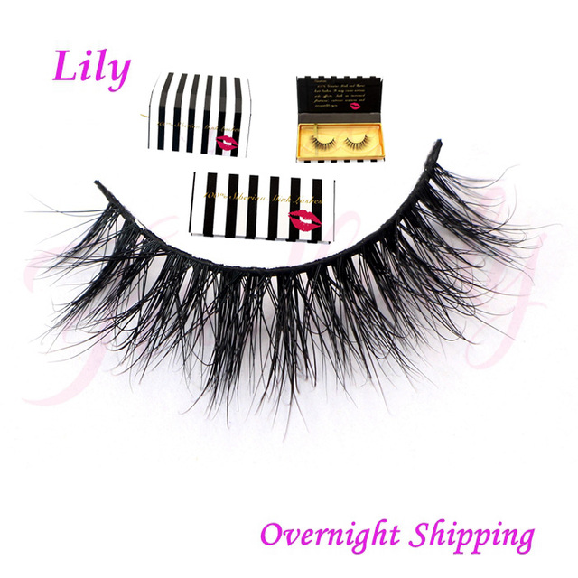 aba97ea003b Free shipping in stock lilly miami 100% real siberian mink strip eyelashes  3d mink lashes