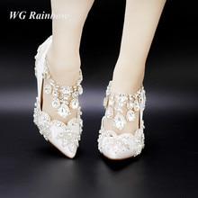 strass frauen pumpen spitze kristall quaste high heels braut hochzeit schuhe frau elegant partykleid schuhe