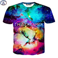 Mr.1991 new 2017 summer style short sleeve t-shirt big kids 3D letter galaxy printed children's tshirt for girls tops  DT18