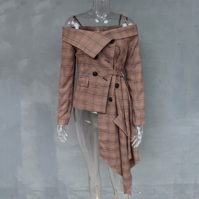 Plaid Blazer Irregular Women Jacket Coat 2018 Autumn Fashion 4